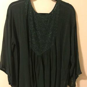 Quarter Length Sleeve Green Sheer Blouse